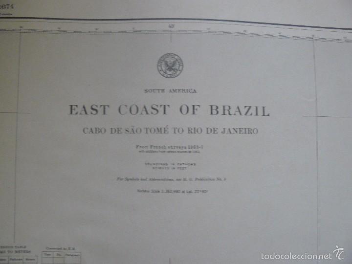 Antigüedades: EAST COAST OF BRAZIL - CABO DE SAO TOME TO RIO DE JANEIRO - CARTA MARINA 77X108 CM. - 1945 - Foto 4 - 56866105