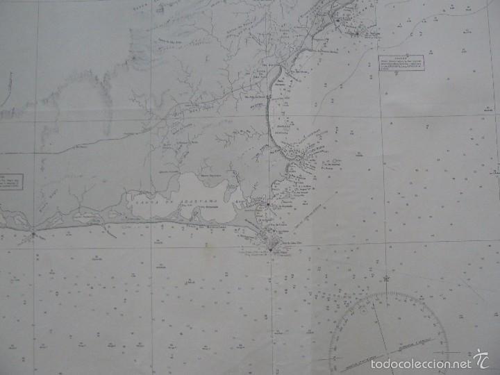 Antigüedades: EAST COAST OF BRAZIL - CABO DE SAO TOME TO RIO DE JANEIRO - CARTA MARINA 77X108 CM. - 1945 - Foto 6 - 56866105