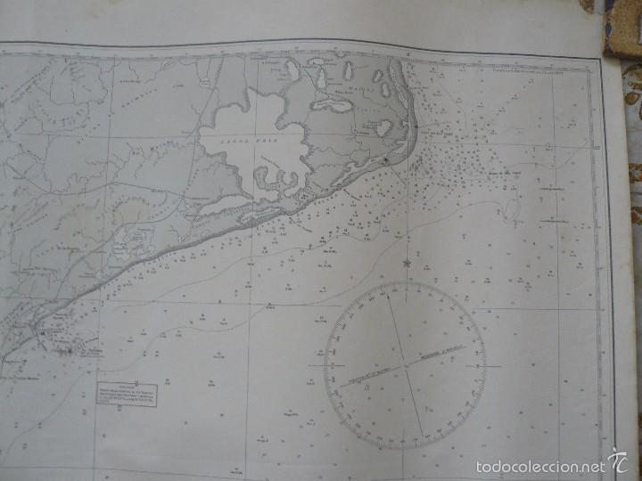 Antigüedades: EAST COAST OF BRAZIL - CABO DE SAO TOME TO RIO DE JANEIRO - CARTA MARINA 77X108 CM. - 1945 - Foto 7 - 56866105