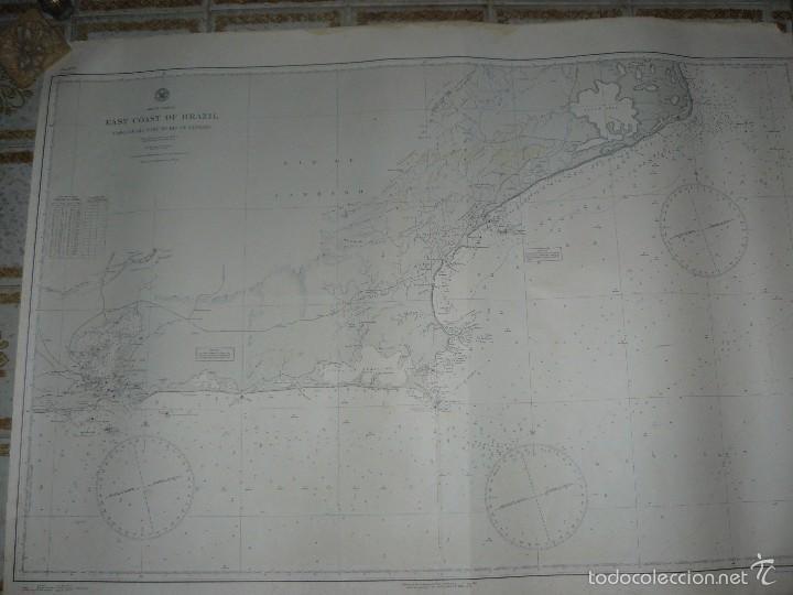Antigüedades: EAST COAST OF BRAZIL - CABO DE SAO TOME TO RIO DE JANEIRO - CARTA MARINA 77X108 CM. - 1945 - Foto 11 - 56866105