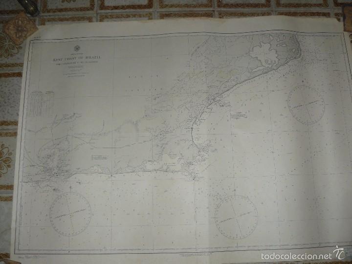 Antigüedades: EAST COAST OF BRAZIL - CABO DE SAO TOME TO RIO DE JANEIRO - CARTA MARINA 77X108 CM. - 1945 - Foto 12 - 56866105