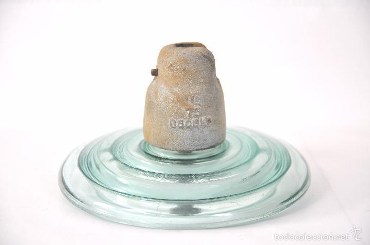 Antigüedades: AISLADOR GIGANTE - ANTIGUA JICARA DE CRISTAL DE POSTE ELECTRICO JICARAS ELECTRICIDAD LAMPARA VINTAGE - Foto 2 - 56886143