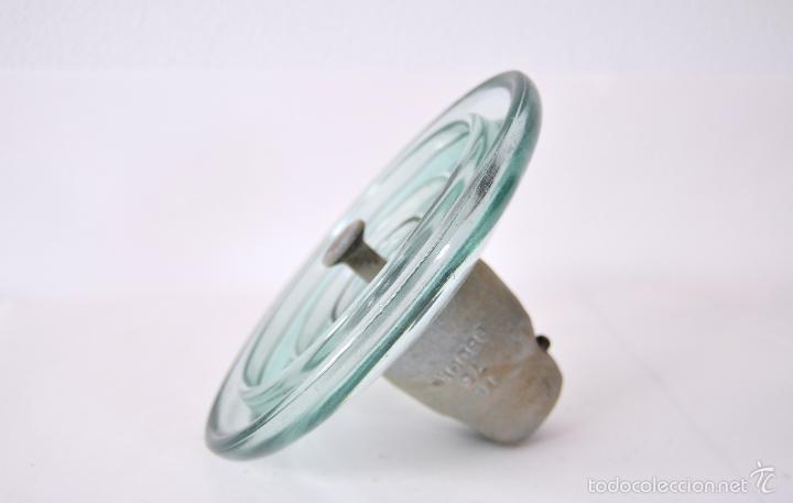 Antigüedades: AISLADOR GIGANTE - ANTIGUA JICARA DE CRISTAL DE POSTE ELECTRICO JICARAS ELECTRICIDAD LAMPARA VINTAGE - Foto 6 - 56886143