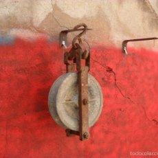 Antigüedades: GRAN POLEA,ROLDANA O GARRUCHA SE DESMONTA EL LATERAL CURIOSA. Lote 56940115