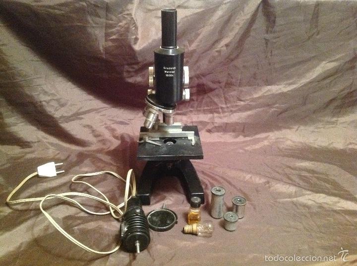 RAREZA MICROSCOPIO GREIFELDT WETZLAR MICROSCOPE NO 16084 1960/70 CON LÁMPARA WITH LAMP (Antigüedades - Técnicas - Instrumentos Ópticos - Microscopios Antiguos)