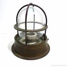 Antigüedades: ANTIGUA LAMPARA CANDIL DE BARCO ORIGINAL NAVAL MARINA FAROL DE PROA EN BRONCE Y CAMPANA DE CRISTAL. Lote 57078221