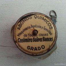 Antigüedades: ANTIGUA CINTA METRICA PUBLICIDAD CASIMIRO SUAREZ BANCES. ABONOS QUIMICOS, MAQUINARIA AGRICOLA. Lote 57125308