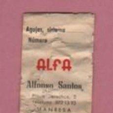 Antiquités: SOBRE DE AGUJAS DE LA MAQUINA DE COSER ALFA - CON PUBLICIDAD DE ALFONSO SANTOS DE MANRESA. Lote 57140684