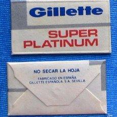 Antigüedades: HOJA DE AFEITAR GILLETTE SUPER PLATINUM, SIN USAR, FABRICADO POR GILLETE ESPAÑOLA, SEVILLA.. Lote 57180844