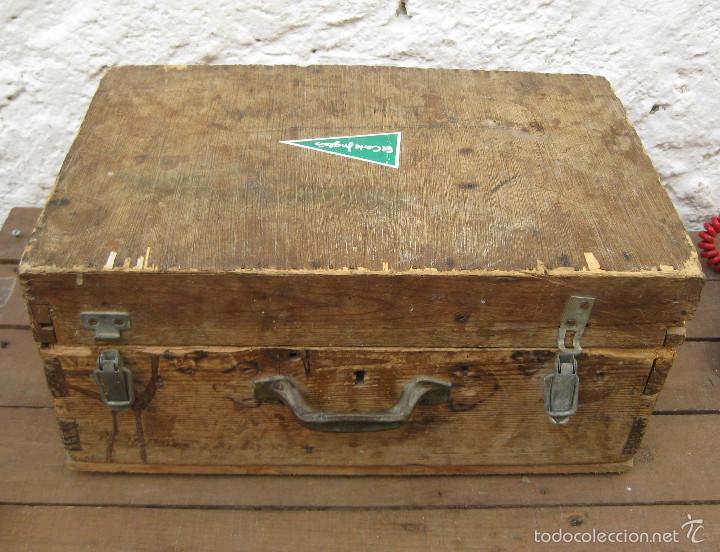 Antigüedades: FANTASTICA CAJA ANTIGUA MADERA AÑOS 20 CON DOBLE FONDO IDEAL HERRAMIENTAS DECORACION INDUSTRIAL - Foto 2 - 57191669