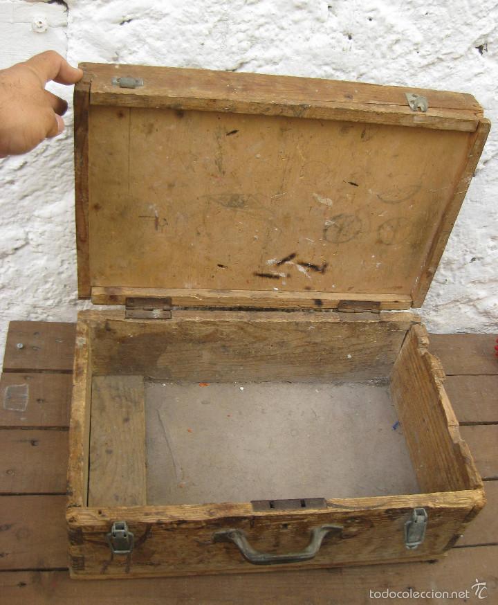 Antigüedades: FANTASTICA CAJA ANTIGUA MADERA AÑOS 20 CON DOBLE FONDO IDEAL HERRAMIENTAS DECORACION INDUSTRIAL - Foto 6 - 57191669