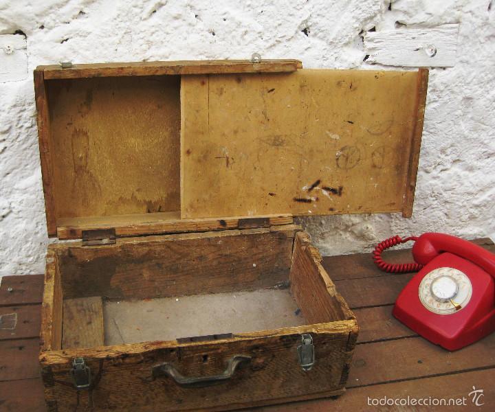Antigüedades: FANTASTICA CAJA ANTIGUA MADERA AÑOS 20 CON DOBLE FONDO IDEAL HERRAMIENTAS DECORACION INDUSTRIAL - Foto 7 - 57191669