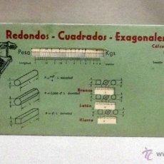Antigüedades: ANTIGUA REGLA DE CALCULO, PESO DE LOS HIERROS PLANOS, EDITORIAL VAGMA, REGLA Nº 6, 1959. Lote 57227591
