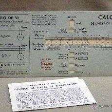 Antigüedades: ANTIGUA REGLA DE CALCULO, CALCULO DE LINEAS DE ALIMENTACION, EDITORIAL VAGMA, REGLA Nº 4. Lote 57227851