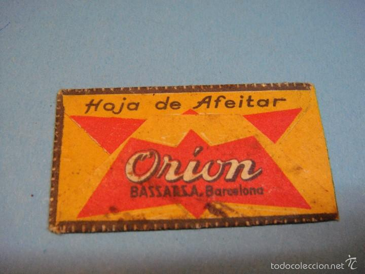 Antigüedades: Antigua hoja de afeitar ORION. Bassarsa, Barcelona. Está sin usar. Extra fina acanalada. - Foto 2 - 57267203