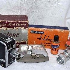 Antigüedades: LOTE CINE A CUERDA EN 8 MM...KEYSTONE K40 +EMPALMADORA+VISOR..USA 1948..MUY BUEN ESTADO..FUNCIONAN... Lote 57347569