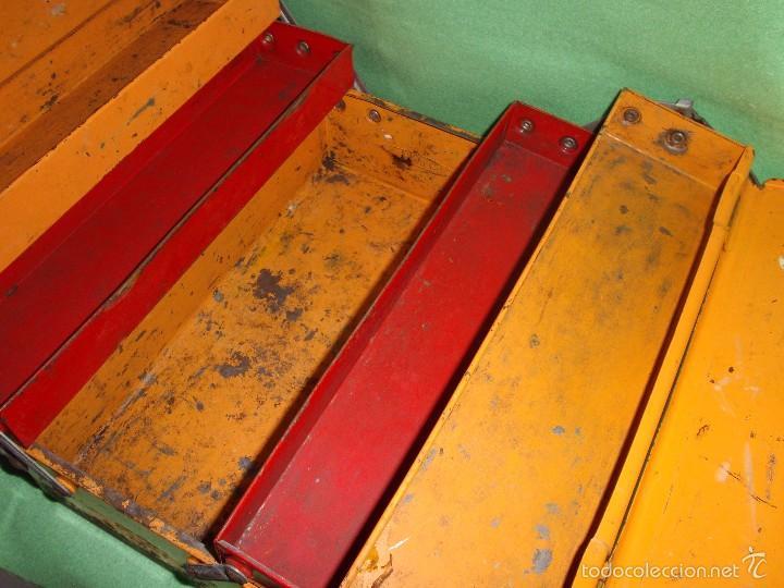 Antigüedades: CURIOSA ANTIGUA CAJA HERRAMIENTAS MINI FRANCIA METAL RARO TAMAÑO BICOLOR USO DECORACION INDUSTRIAL - Foto 3 - 57377614