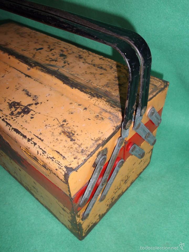 Antigüedades: CURIOSA ANTIGUA CAJA HERRAMIENTAS MINI FRANCIA METAL RARO TAMAÑO BICOLOR USO DECORACION INDUSTRIAL - Foto 6 - 57377614