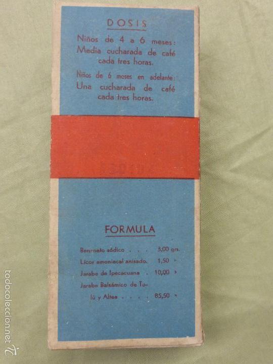 Antigüedades: ANTIGUA BOTELLA MEDICAMENTO PECTORAL WALDERR LABORATORIOS VALDERRAMA.PRECINTADA-FARMACIA-AÑOS 20 - Foto 3 - 57477903