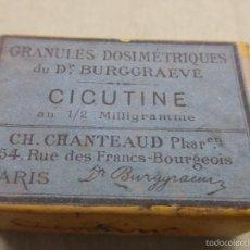 Antigüedades: ANTIGUA CAJA MEDICAMENTO CICUTINA CICUTINE-FARMACIA BURGGRAEVE CH.CHANTEAUD-PARÍS-PRECINTADA.AÑOS 20. Lote 57478194