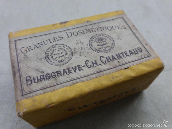 Antigüedades: ANTIGUA CAJA MEDICAMENTO CICUTINA CICUTINE-FARMACIA BURGGRAEVE CH.CHANTEAUD-PARÍS-PRECINTADA.AÑOS 20 - Foto 2 - 57478194