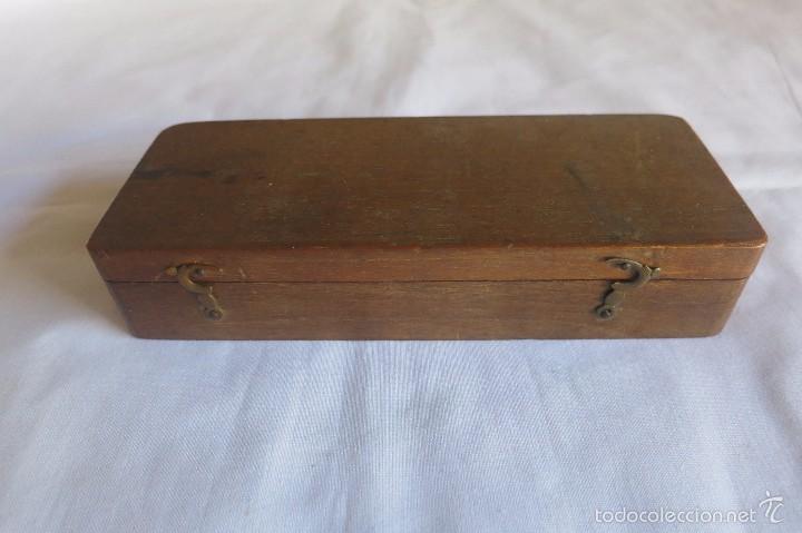 Antigüedades: caja y balanza de ponderales monetarios de Ca 1870 - Foto 4 - 57566745
