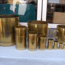 Antigüedades: 11 MEDIDAS DE CAPACIDAD MARCA MOLAS EN BARCELONA. BODEGA. Lote 57683679