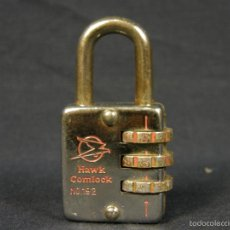 Antigüedades: CANDADO HAWK COMLOCK Nº 192 HONG KONG Nº 192X30MM 55X30X19MM. Lote 57730936
