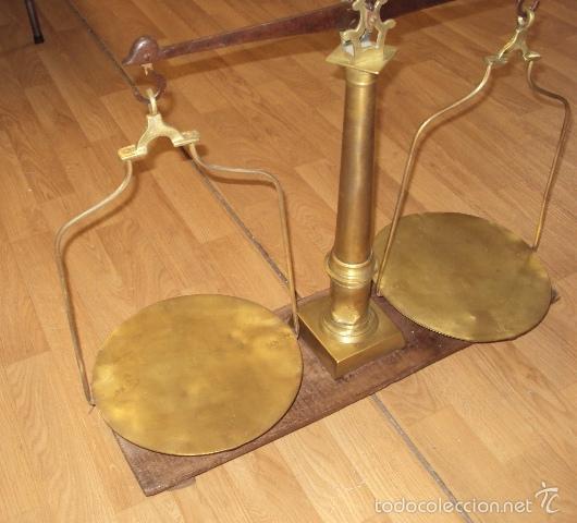 Antigüedades: antigua balanza de farmacia bronce laton y forja - Foto 5 - 57827493