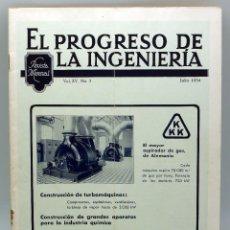 Antigüedades: EL PROGRESO DE LA INGENIERÍA REVISTA TÉCNICA MENSUAL Nº 7 VOL XV JULIO 1934 . Lote 57991828