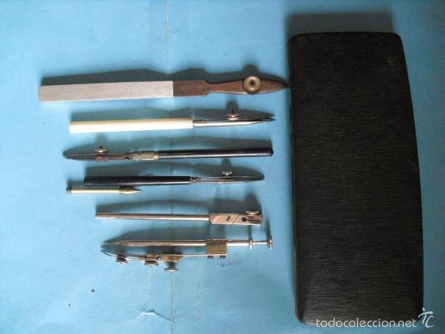 Antigüedades: lote de compases antiguos, 6 piezas, herramienta para deliniante y arquitecto - Foto 2 - 58064004