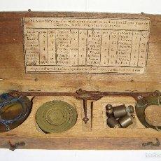 Antigüedades: CURIOSA BALANZA PARA MONEDAS. S.XIX. CON TABLA PARA LAS MONEDAS EN FRANCES.. Lote 58070571