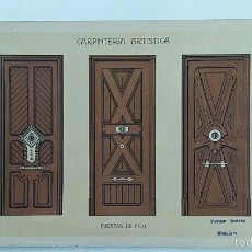 Antigüedades: ANTIGUA LAMINA MODERNISTA. CARPINTERIA ARTISTICA. 1905. Lote 58110109