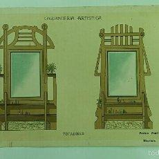 Antigüedades: ANTIGUA LAMINA MODERNISTA. CARPINTERIA ARTISTICA. 1905. Lote 58110200