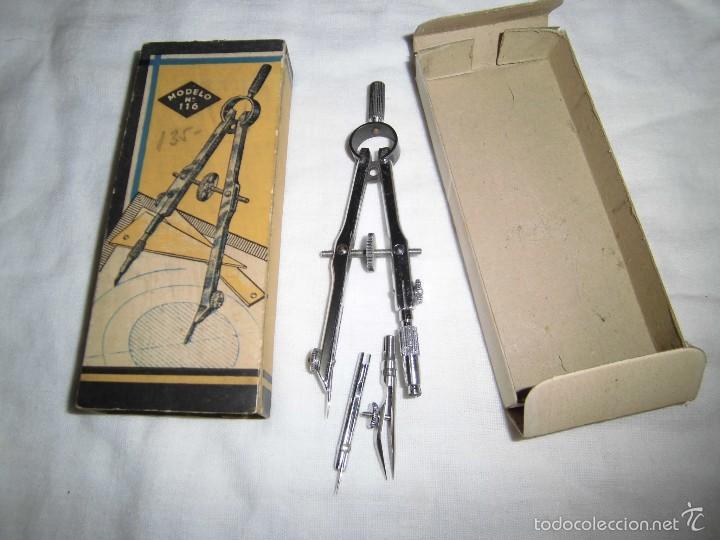 Antigüedades: ANTIGUO COMPAS EN SU CAJA ORIGINAL MODELO Nº 116 - Foto 3 - 58111475
