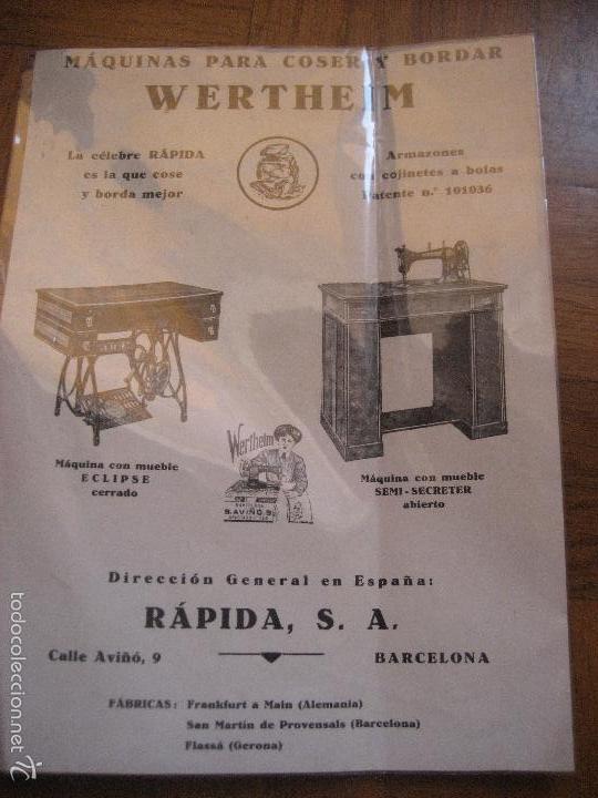 MAQUINAS DE COSER Y BORDAR WERTHEIM. HOJA PUBLICITARIA A DOS CARAS. 17 X 13 CMS. (Antigüedades - Técnicas - Máquinas de Coser Antiguas - Wertheim )