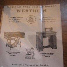 Antigüedades: MAQUINAS DE COSER Y BORDAR WERTHEIM. HOJA PUBLICITARIA A DOS CARAS. 17 X 13 CMS.. Lote 151394484