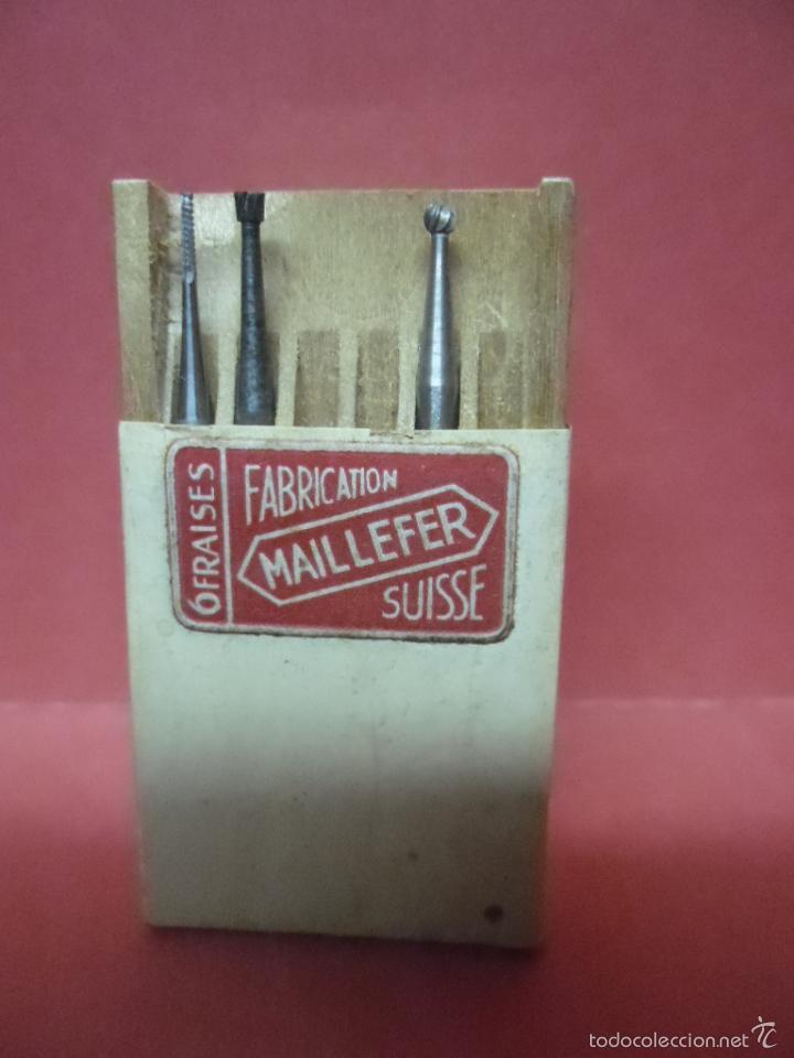 Antigüedades: herramientas dentista - fresas - dental - odontologia - maillefer - suiza - caja interior madera - Foto 2 - 58132558