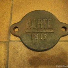 Antigüedades: TAPA EJE REGISTRO DE VAGON. NORTE 1917 MEDIDAS 23 X 16 CM. Lote 58179940