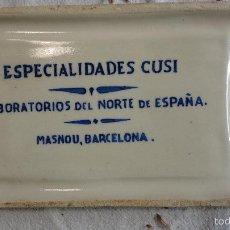 Antigüedades: ESPECIALIDADES CUSI.LABORATORIOS DEL NORTE DE ESPAÑA.MASNOU.BARCELONA.ANTIGUA BANDEJA DE FARMACIA.. Lote 58232268