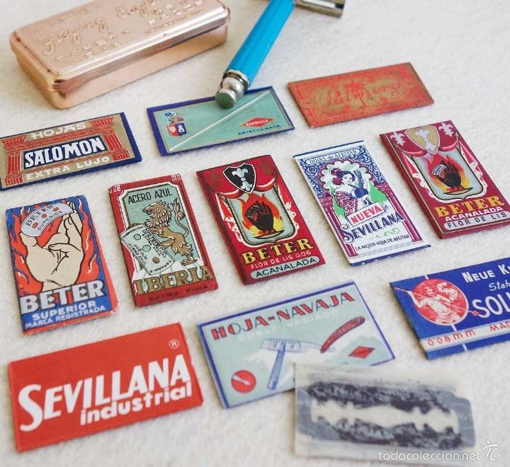 Antigüedades: LOTE ANTIGUAS CUCHILLAS AFEITAR NUEVAS, CAJITAS Y MAQUINILLA VIAJE. - Foto 2 - 58251804