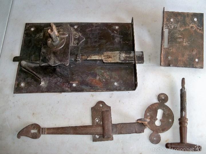 Antigüedades: ANTIGUA CERRADURA DE HIERRO - Foto 4 - 58259599