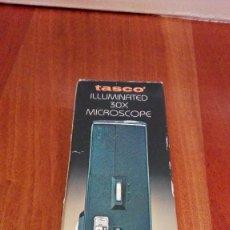 Antigüedades: MICROSCOPIO DE BOLSILLO TASCO 30X CON LUZ. Lote 58341187