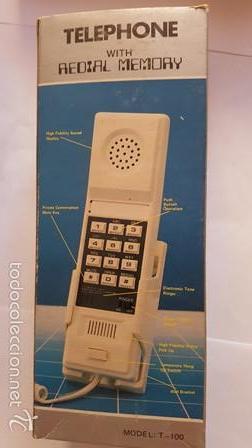 TELEPHONE - WITH REDIAL MEMORY - COLOR ROJO - NUEVO SIN USO - EN SU CAJA DE ORIGEN - (Antigüedades - Técnicas - Teléfonos Antiguos)