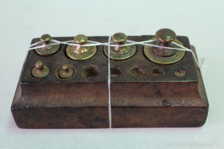 JUEGO DE 6 PESAS - PONDERALES EN BRONCE (Antigüedades - Técnicas - Medidas de Peso - Ponderales Antiguos)