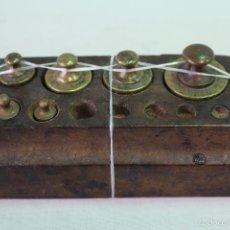 Antigüedades: JUEGO DE 6 PESAS - PONDERALES EN BRONCE . Lote 58456292