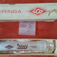 Antigüedades: ANTIGUA JERINGA 100 CC CRISTAL ICO ITALY DIAMAND GLASS CAJA ORIGINAL NUNCA USADA. Lote 58555123