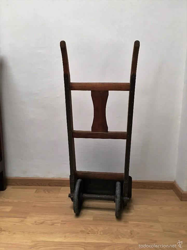 Antigüedades: carretilla antigua de madera y hierro - Foto 4 - 58564456