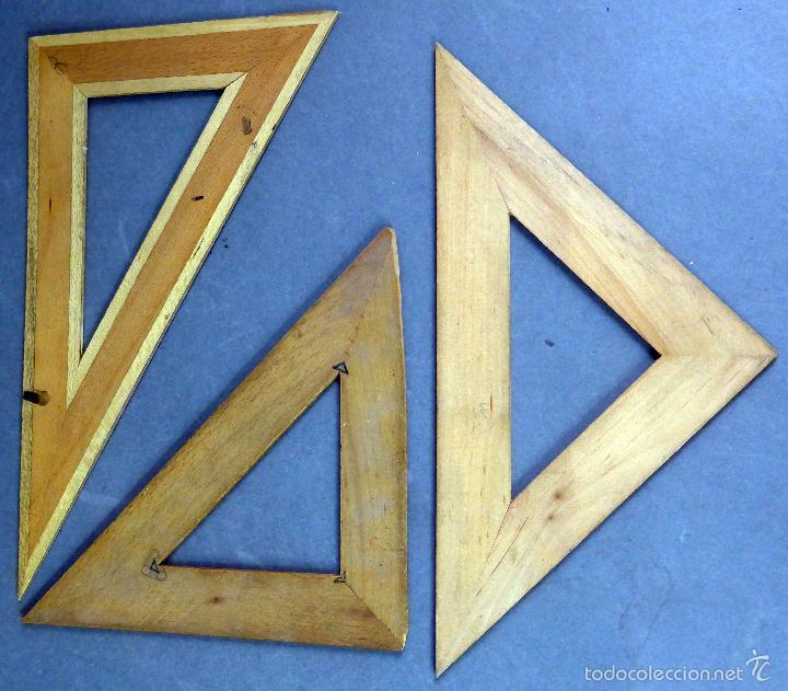 Antigüedades: Juego 3 reglas escuadra y 2 cartabón madera años 50 - Foto 2 - 194779475