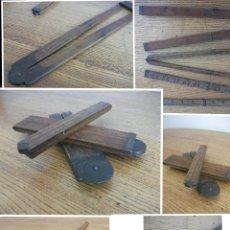 Antigüedades: LOTE DE 3 REGLAS INGLESAS DE MADERA ANTIGUAS. Lote 59155315
